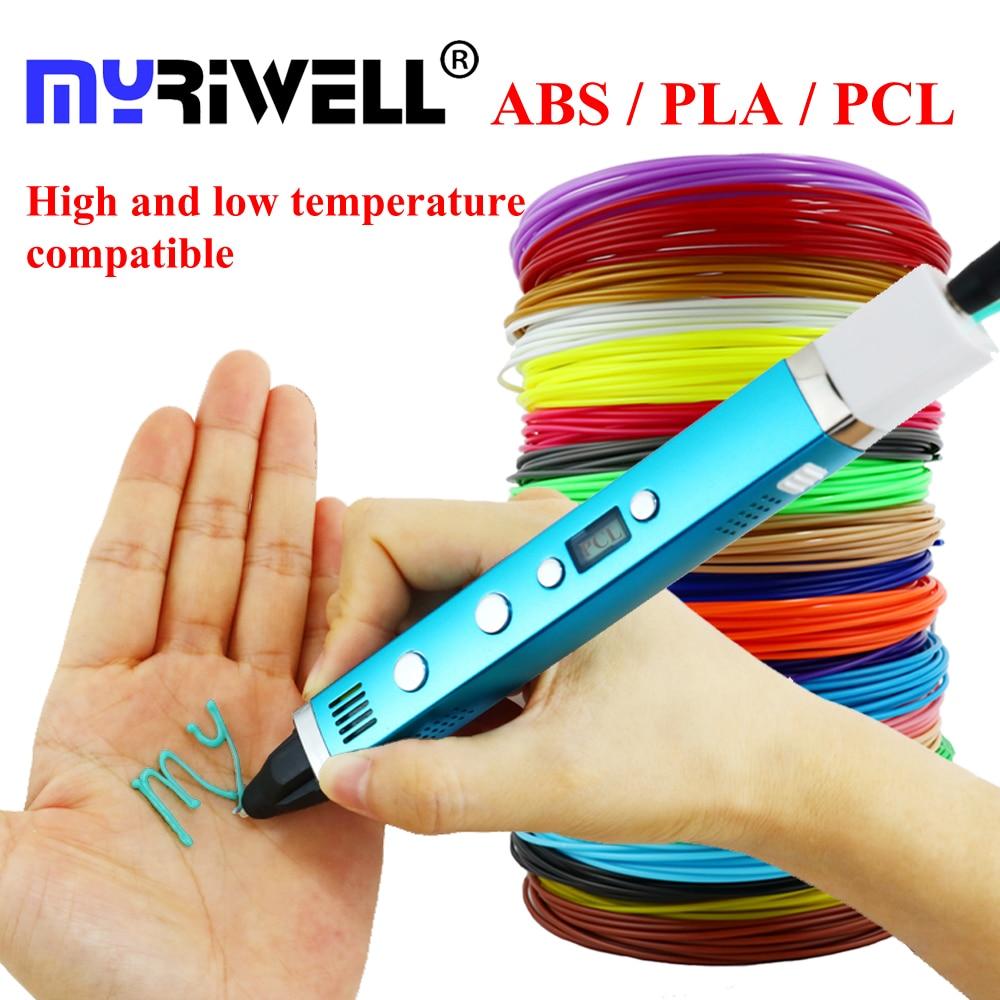 Myriwell 1.75mm ABS/PLA/PCL DIY 3D Stylo LCD Écran USB De Charge 3D Imprimante Stylo 1.75mm filament Creative Jouet Cadeau Pour Les Enfants Conception