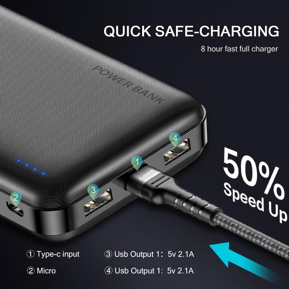 FLOVEME Power Bank 20000mAh Portable Charging Poverbank Mobile Phone External Battery Charger Powerbank 20000 mAh for Xiaomi Mi 2