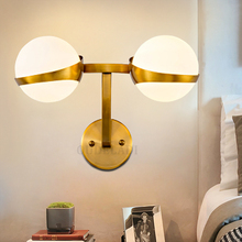 Fashion LED Glass ball wall lamps bedroom living room Aisle 1/2 head gold home decoration Wall Light