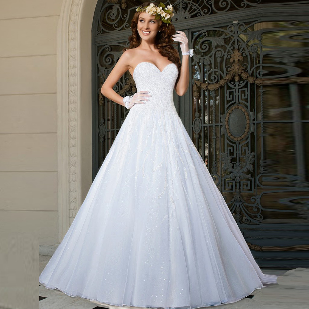 Best Wedding Gowns 2015: Luxurious Crystals Beadings Top Bodice Wedding Dress Lace