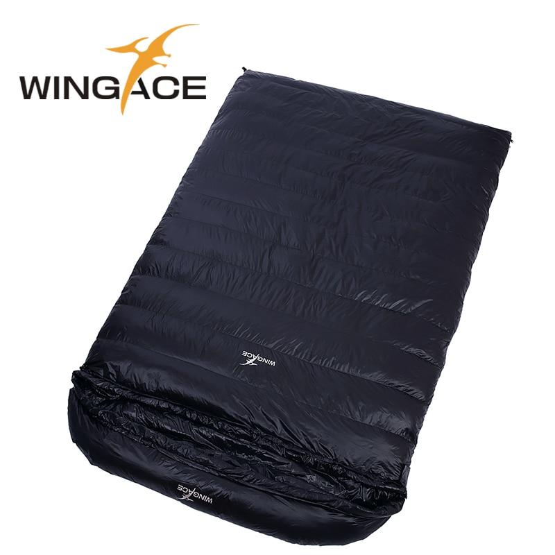 WINGACE Preencher Pato 4000G Para Baixo Saco de Dormir Acampamento Ao Ar Livre Adulto Envelope Saco de Dormir de Casal Adulto Sacos De Dormir de Inverno