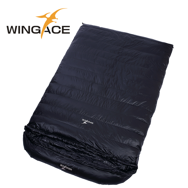 WINGACE Fill 4000G Duck Down Sleeping Bag Camping Outdoor Envelope Adult Double Sleeping Bag Adult Winter Sacos De Dormir wingace envelope double sleeping bags fill 2500g 95