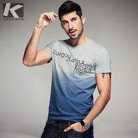 New 2016 Summer Men Casual T Shirts Short Sleeve Gradient Letter Print Brand Clothing Man Slim