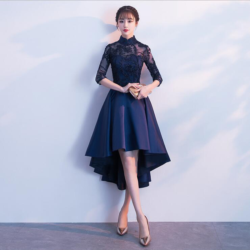 New Embroidery High Neck Half Sleeve Illusion Satin Front Short Evening Dresses Elegant Party Zipper Back Prom Gowns