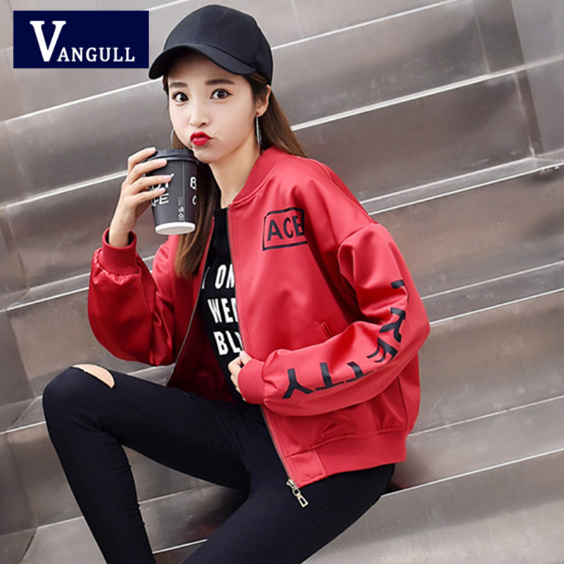Vangull Spring & Summer Casual New Women   Basic     Jackets   Letter Print Long Sleeve Loose Short Coat V-Neck Zipper Baseball   Jackets