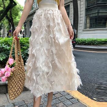 21e347db2 Falda de verano para mujer Vintage de rayas de encaje con botones de  cintura alta faldas vestido ...