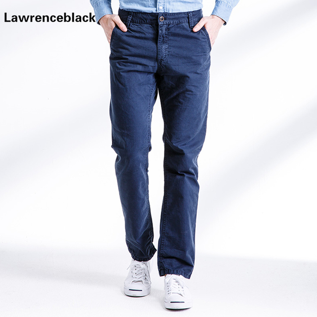 99aab2be9 Casual Men Classic Cargo Pants 100% Cotton Blue Outdoors Solid Pocket  Overalls Long Male Slim Fit Straight Long Trousers 692
