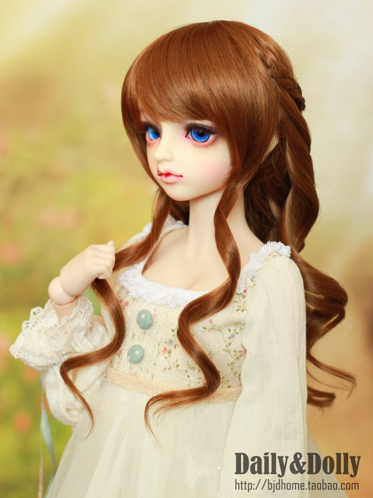 NEW !!  22-24cm  BJD wig fringe long hair curly  hair High-Temperature Wire for 1/3  DD  BJD SD dollfie