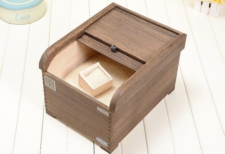 Японский деревянный контейнер для риса, деревянная отделка, рисовая корзина для хранения, экологичный кухонный органайзер, влагостойкий