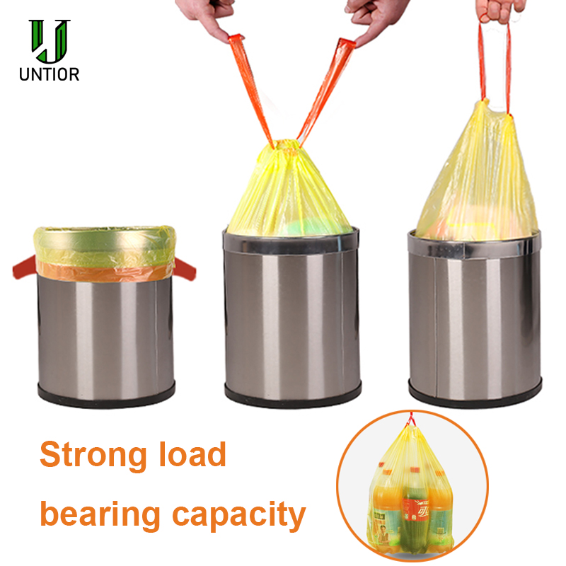 UNTIOR Large Thick Trash Bags Portable Liners Drawstring Disposable Plastic Garbage Bags Large Strong Trash Can Cleaning Tools