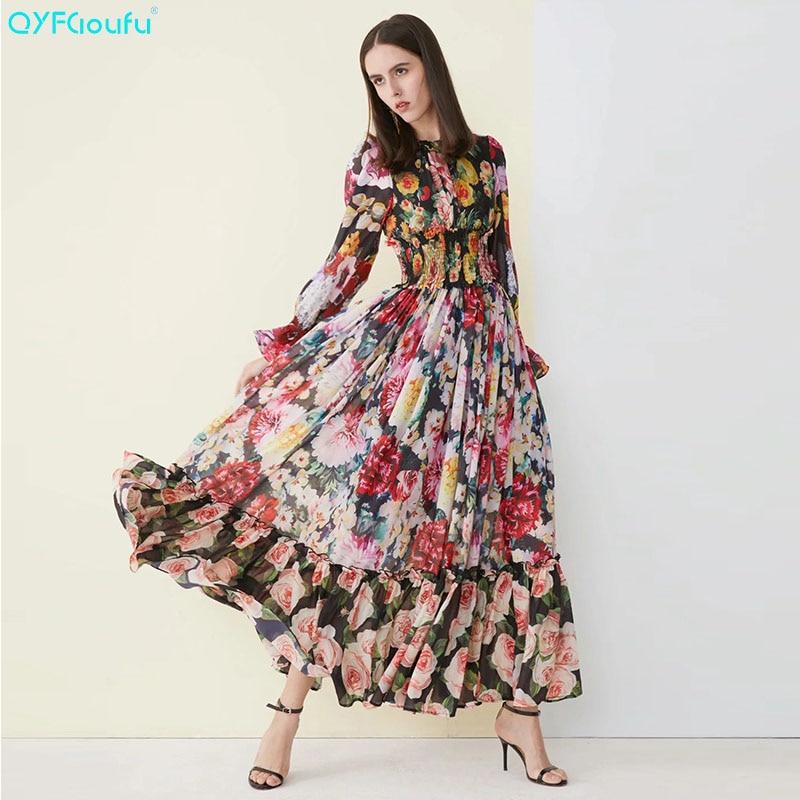 QYFCIOUFU 2019 été Maxi robes pour femmes manches longues Designer robe de piste qualité mode fleur imprimer Boho longue robe