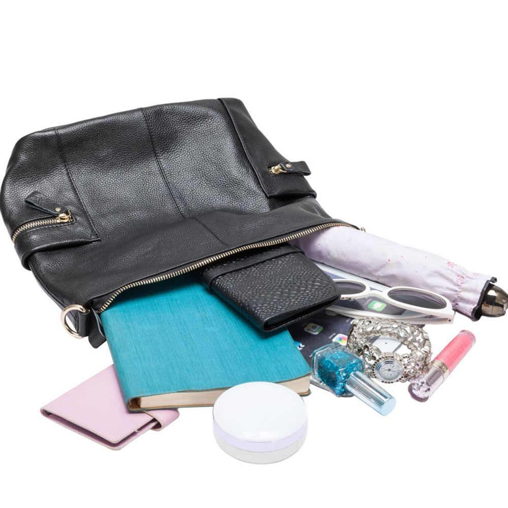 Zency 100% натуральный кожанный браслет с металлическими камнями женская сумка на плечо большая емкость бежевая сумка через плечо женская сумка-тоут черная