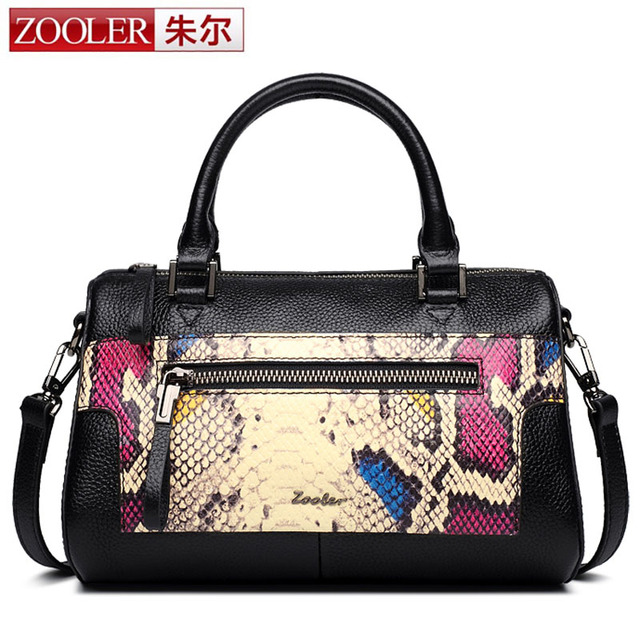 dcd60cf17474 ZOOLER Brand New Genuine Leather Handbag Women Boston Tote Bag Color  Serpentine Pattern Design Top-handle Bag Lady Crossbody Bag