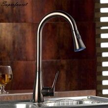 Superfaucet Бронзовый Кухонный Кран Pull Out Одной Ручкой, Краны для Кухни Смеситель, Горячая и Холодная Вода Кухня Смеситель Для Мойки нажмите HG-6520