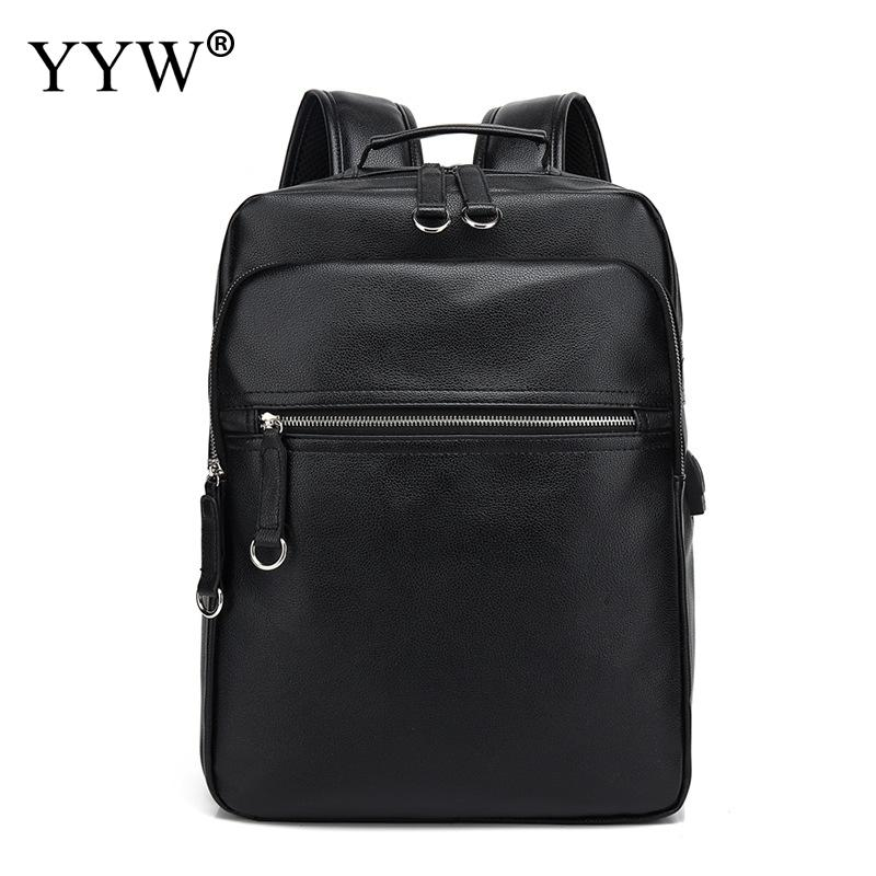 Solid Large Capacity Mens Backpack with USB interface PU Leather Laptop Backpack 2018 Travel School Bag A hole for headphone Solid Large Capacity Mens Backpack with USB interface PU Leather Laptop Backpack 2018 Travel School Bag A hole for headphone