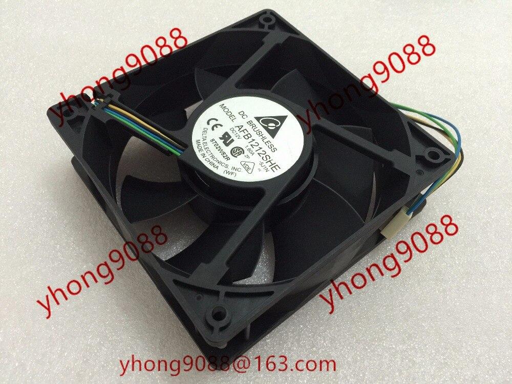 Free Shipping For DELTA  AFB1212SHE, -5J1N  DC 12V 1.60A, 120x120x38mm 110mm 4-wire Server Square fan delta 12038 12v cooling fan afb1212ehe afb1212he afb1212hhe afb1212le afb1212she afb1212vhe afb1212me