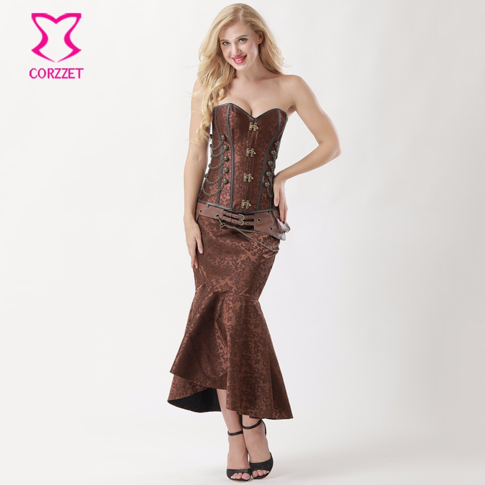 Women Steampunk Corset Dress Vintage Brown Brocade Corsets and Bustiers With Mermaid Skirt Set Burlesque Dresses Gothic Clothing