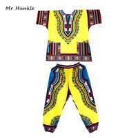 Mr Hunkle Fashion Design Dashiki Set African Printted Dashiki Dress and Pants for Women and Men