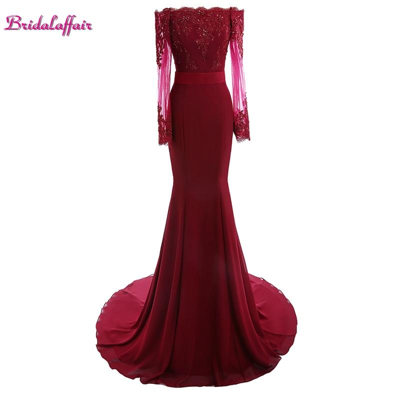 BridalaffairRealPhoto BurgundyChiffon Long Sleeve Lace Mermaid   Prom     Dresses   2017 New Sweep Train Appliques   Prom   Gown with Sashes