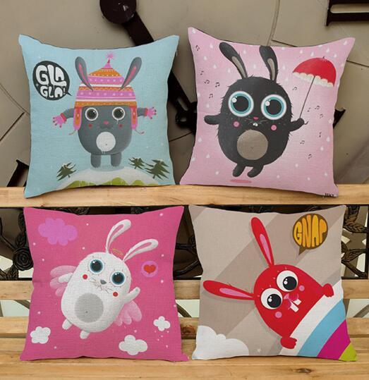 New cute rabbit cartoon child room printed linen cushion cover Cushion sofa bed car home Dec wholesale FG127