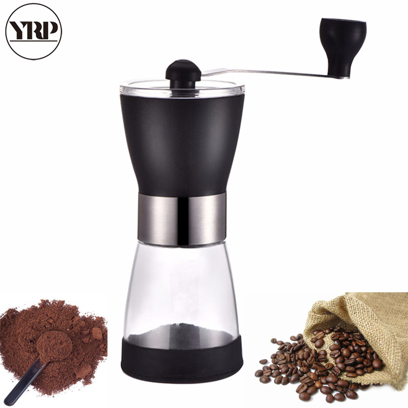 YRP Manual Ceramic Core Coffee Grinder Washable Glass Handmade Pepper/Nuts/Coffee Bean Grinder Mill Maker For Kitchen Tools
