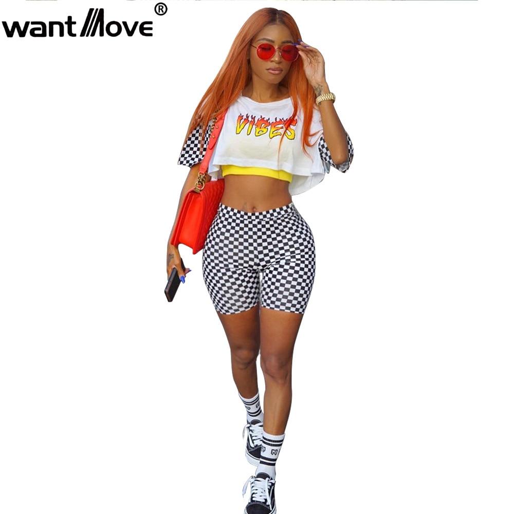 Wantmove 2018 Summer Women Vibes Print White Black Grid Crop Top Short Sets Fashion -3965