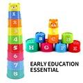 Venta de juguetes educativos para niños bebé taza plegable fijado para esta primera tazón bebé rompecabezas de apilamiento