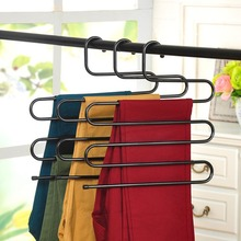 5 Layer S-type Multi-Purpose Trousers Hanger Rack Pants Holder Tie For Clothes Stainless Steel Saving Space