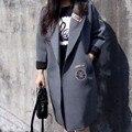 2016 Новый Европейский стиль Свободный рукав Летучая Мышь Большой Размер 4XL женщины Весна Осень Жира Сестра Куртки Хлопка Верхняя Одежда Длинные Пальто B164