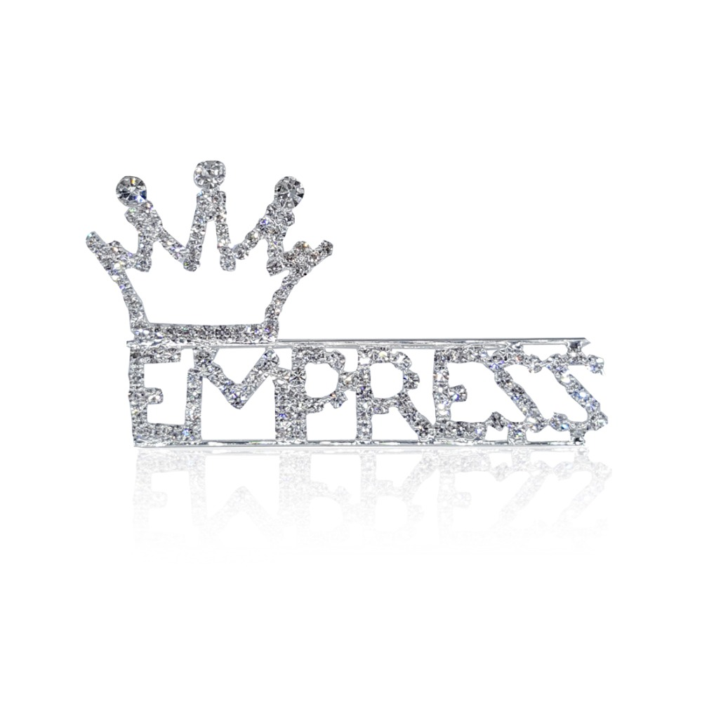 silver plated rhinestone word letter pins empress with a crown on top lapel