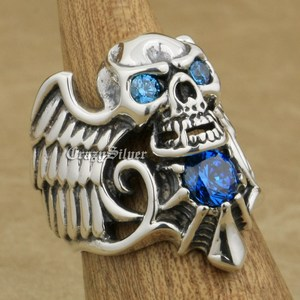 Image 2 - 925 Sterling Silver Devil Wing Skull CZ Eyes Mens Biker Rocker Punk Ring 9MX13 US Size 7~13