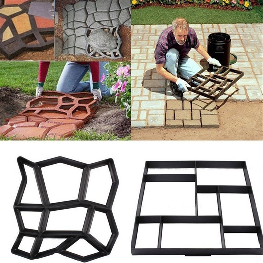 Der Diy Pflaster Form Hause Garten Boden Straße Beton Stepping Einfahrt Stein Pfad Form Terrasse Maker 4,361 Garten Gebäude Schwarz Kunststoff
