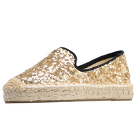 DZYM Spring Summer Sequined Cloth Women Flats Luxury Design Golden Sneakers Grass Woven Fisherman Shoes Loafers Espadrilles