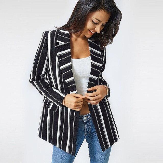 chifave Blazer Women 2018 Striped Jackets Casual Double Breasted Black Long Blazer Women's Spring Autumn Jacket Plus Sizes 5XL  1