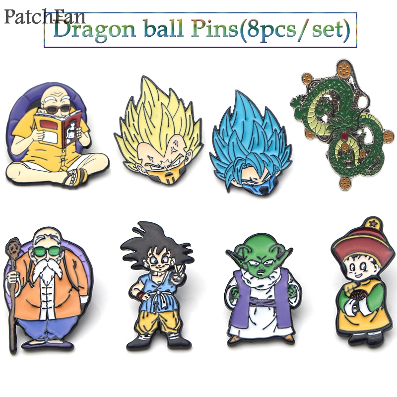 Badges Dependable Patchfan 8pcs/set Cartoon Zinc Pin Dragon Ball Son Goku Brooches For Men Women Kids Diy Cosplay Backpack Badges A0701 Extremely Efficient In Preserving Heat