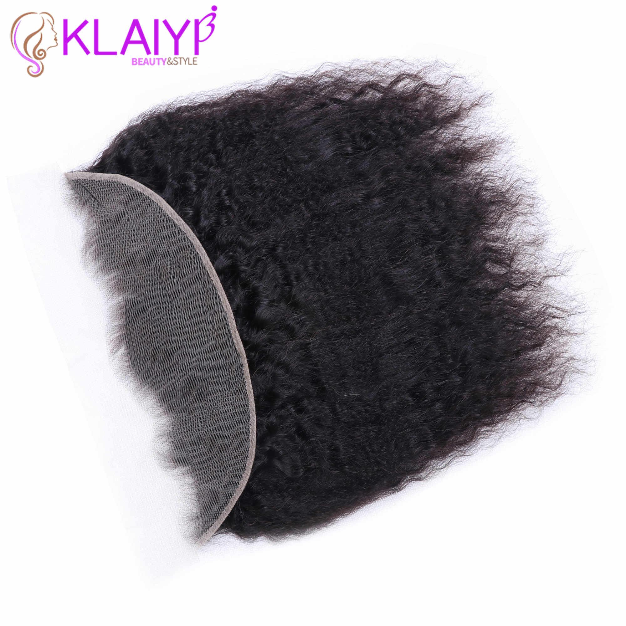 Klaiyi pelo brasileño rizado pelo recto 13*4 encaje cierre Frontal con pelo de bebé cabello humano Remy parte libre yaki de cierre de encaje