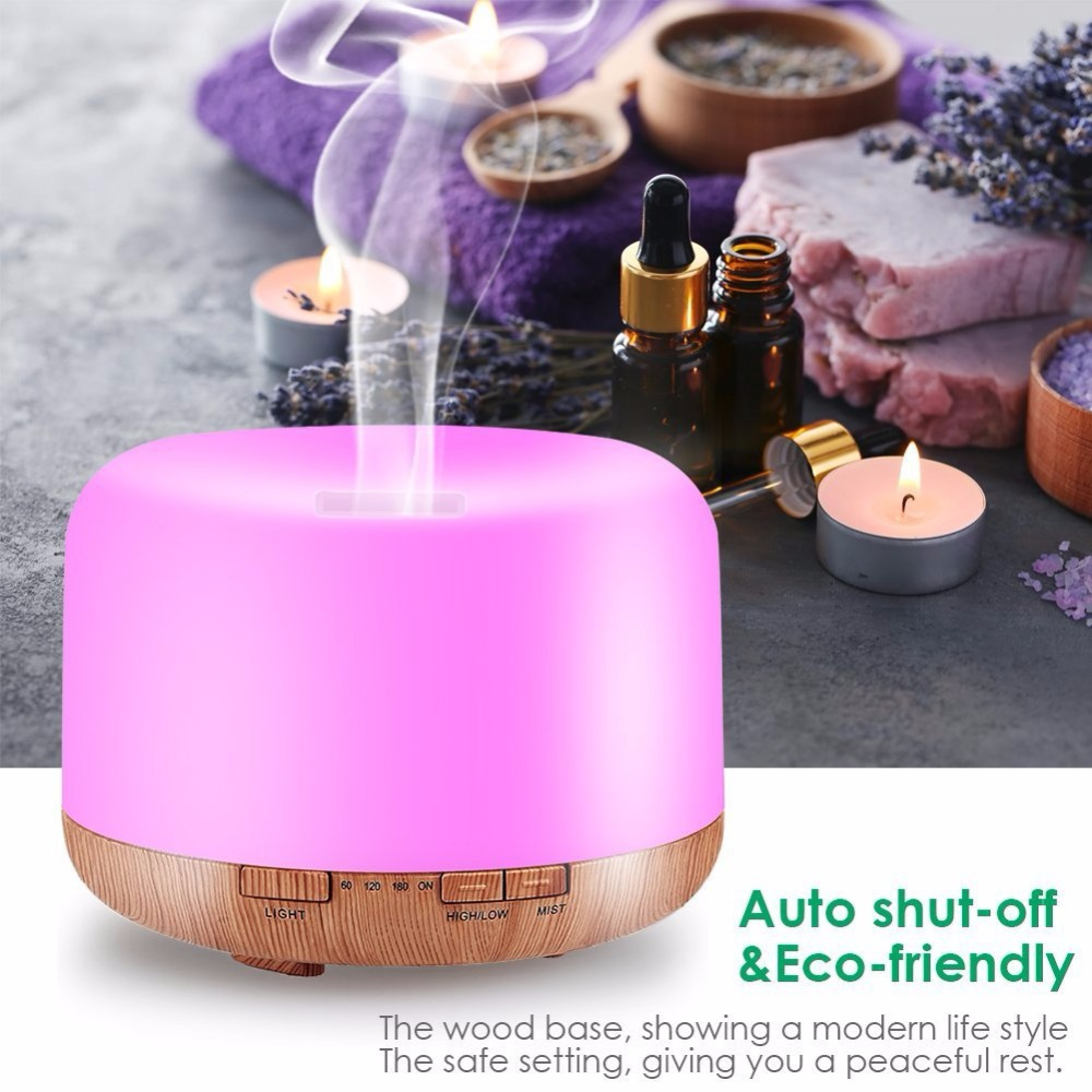 Air Humidifier Aroma Lamp 500ml Aromatherapy Electric Aroma Diffuser 7 Color Led Night Light Wood Grain Essential Oil Diffuser
