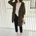 Mulheres jaqueta jaqueta Os novos tecidos de seda moda solto casaco Com Capuz longo casaco Frete Grátis
