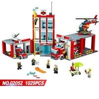 Lepin 02052 the City Fire Station Set Fireman Building Blocks Bricks Educational DIY Toys Compatible Legoinglys Kids 60110 Gift