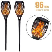 Solar Powered Outdoor Torch Lights 96 LED Flickering Flames Path Lights Waterproof Yard Garden Decoration Dancing Flames Lantern