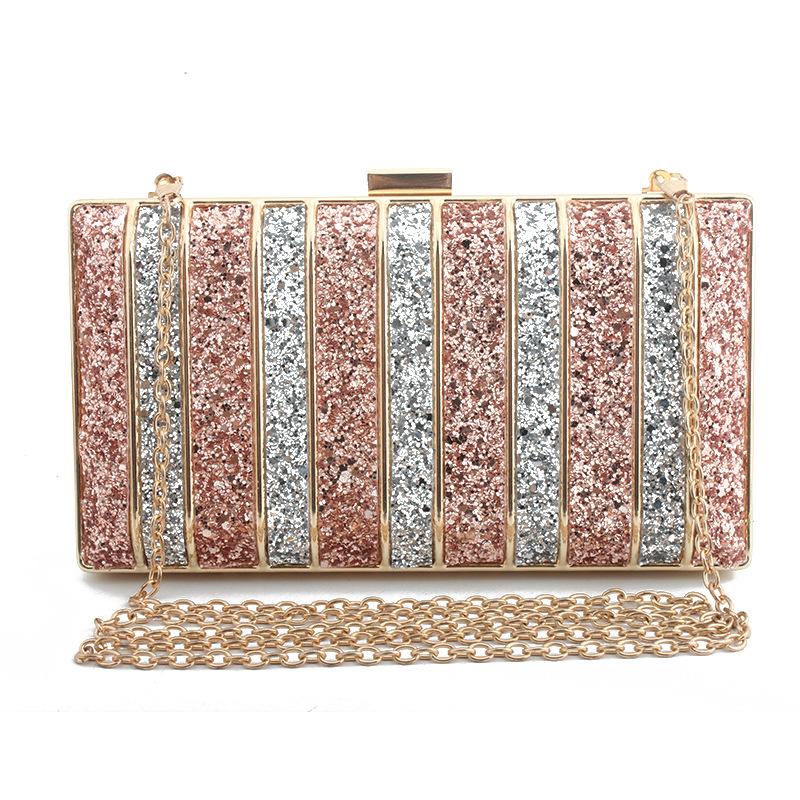 Diamond Lined Sequins Evening Bag Pink Blue Red Clutch Bag Ladies Party Wedding Box Chain Bag