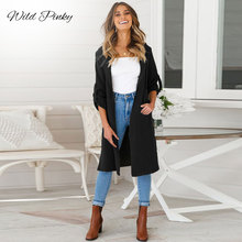 WildPinky Spring Autumn New Women Long Cardigan Turn-down Collar Coa Stand Collar   Sleeve Open Stitch Trench Coat fitting shirt collar long sleeve trench coat