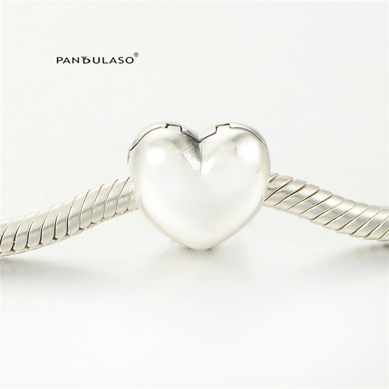 Pandulaso Heart Clip With Logo beads for Jewelry making Fit Charms Bracelets Woman DIY Original 925 Sterling silver jewelry