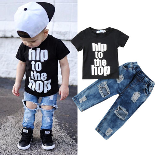 Newborn Infant Kid Baby Boy Clothes T shirt Tops Denim Long Pants Outfits Set AU newborn cotton cartoon baby boy girl clothing set infant elephant words printed t shirt tops pants shortsleeve kids clothesst230