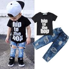 Newborn Infant Kid Baby Boy Clothes T shirt Tops Denim Long