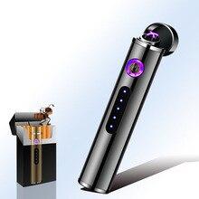 Мини цилиндрическая usb зарядка Электронная зажигалка сенсорный датчик переключатель сигарета зажигалка плазменная ветрозащитная зажигалка