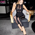 2016 new women sexy mesh see through sleeveless black bandage jumpsuit fashion ladies night club party wear dropshipping HL652