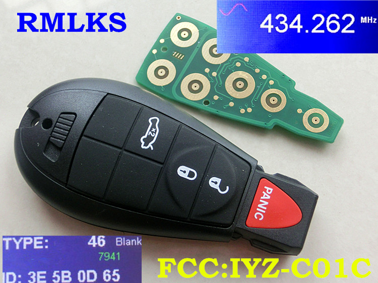 RMLKS UNCUT REPLACEMENT Smart Remote Key Fobik Keyless Fob Transmitter 3 Button +Panic for Dodge For Chrysler 433MHz ID46 Chip