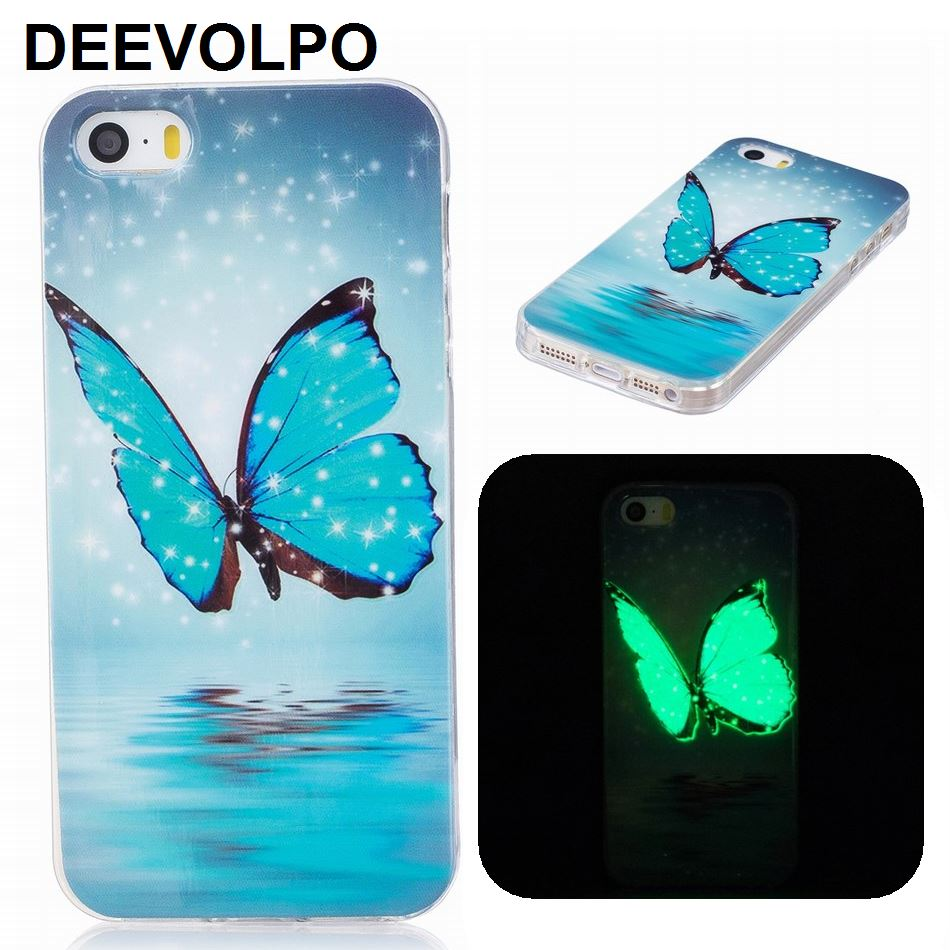 Galleria fotografica DEEVOLPO Soft Silicone Phone Bags Noctilucous Cases For iPhone X 8 7 6S 6 Plus 5S SE 8+ 7+ Cute Capa Covers Luminous Green DP12Z