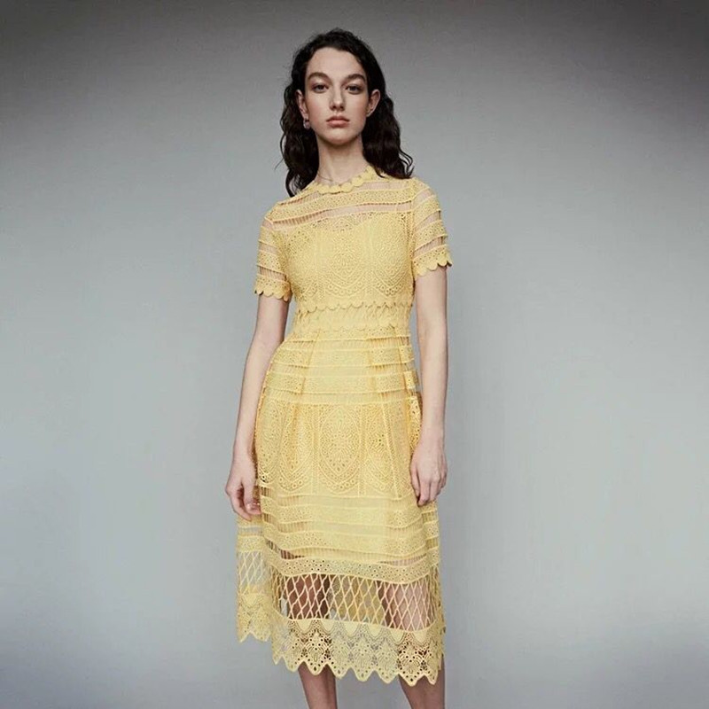 2019 New Women Yellow Hollow Out Lace Midi Dress